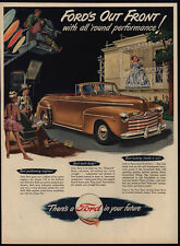 1947 FORD Super Deluxe Convertible Tan Or Beige Car - Movie Camera - VINTAGE AD