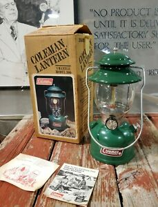 VINTAGE NOS UNFIRED COLEMAN MODEL 200A GREEN DATED 5/83 LANTERN W/BOX WOW MINT