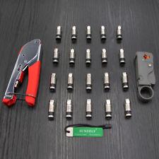 F-Type Compression Tool & 20x RG6 Connectors- Coaxial Crimping Crimper Sky Screw