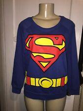 Dc Comics Superman Sweatshirt Womens Size XL Blue Comics Sweater Super Hero