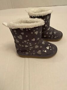 Gymboree Cozy Heart Boots Gray Metallic Heart Print Toddler Size 6