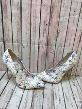 ALDO Beige Floral Patent Leather Pointy Toe Slip On High Heels Women's Size 7.5