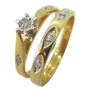 9ct Yellow Gold 0.05ct Round Diamond Engagement Ring & Wedding Ring Set
