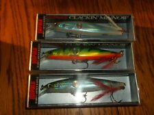 RAPALA  CLACKIN MINNOW 11's----lot of 3 DIFFERENT COLORED FISHING LURES-CNM11