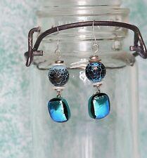 Handmade Turquoise Blue Dichroic Glass & Jasper Dangle Earrings