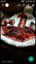 Girl Baby Romany Spanish christmas Romper outfit  tartan check