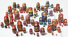 Lot 3 séries de 5 poupées chacun, gigognes matriochka en bois fleurs art russe
