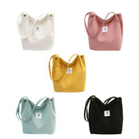Women Girls Shopping Shoulder Tote Bag Casual School Handbag Student Canvas Bags