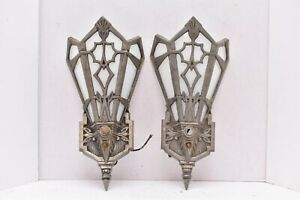 Vintage Art Deco Slip Shade Wall Sconces Antique Pair Lighting Fixtures Gothic