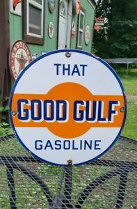 GOOD GULF gasoline porcelain metal sign gas pump plate vintage style garage