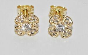 9ct Gold Diamond Shamrock CLOVER CLUSTER Stud Earrings