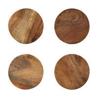 4x Round Wooden Coasters Set Natural Pattern Textured Coffee Acacia Wood Thick