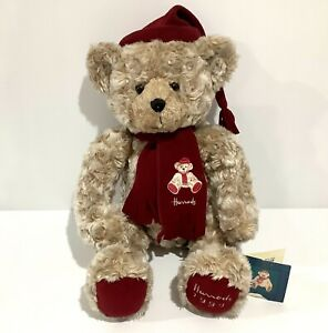 """Collectable Vintage Harrod's 1999 Christmas Bear With Tag 13"""" / 33cm - Harrods"""