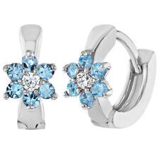"Rhodium Plated Light Blue Crystal Flower Hoop Baby Girl Earrings Infants 0.27"""