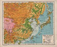 1928 mapa ~ China y Japón ~ política y física