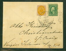 DANISH WEST INDIES 1917, Mixed U.S. & DWI franking on TRANSITION PERIOD cover