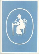 VINTAGE EMBOSSED GIRL FEATHER PEN BLUE BACKGROUND CAMEO SHAPE NOTE CARD PRINT