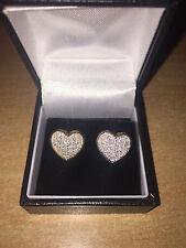 Stunning Diamond Cluster 1/2 Carat 50pt Heart Earrings 9ct Yellow Gold New