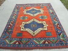 7x9ft. Afghan Uzbek Kargai Wool Room Size Rug