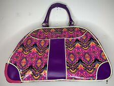 Double Dutch Club Rolling Luggage Suitcase Handle Wheels Paisley Retro Hippie
