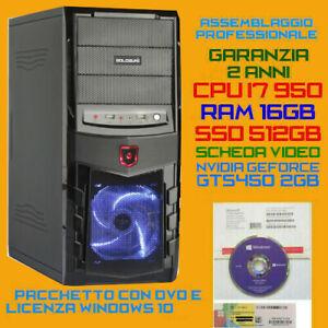PC FISSO INTEL i7-950 RAM 16GB SSD512GB DVDRW WIN10 Pro DVD GEFORCE GTS450 2GB