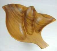 Vintage Mid Century Modern Wooden Divided Serving Tray Nut Bowl MCM