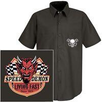 VINTAGE RACING SPEED DEMON DEVIL MOTORCYCLE BIKER SKULL MECHANIC WORK SHIRT W73