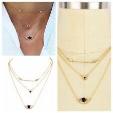 Evil Eye Necklace Black Rhinestones Pendant Turkish Jewelry Turkey Sweater
