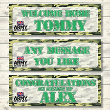 2 PERSONALISED 3FT X 1FT ARMY WELCOME HOME - CONGRATULATIONS - BANNERS