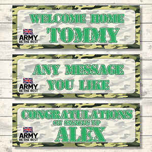 2 PERSONALISED ARMY WELCOME HOME - CONGRATULATIONS - BANNERS