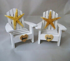 Wedding Reception Real Starfish Personalize Adirondack White Chairs Cake Topper