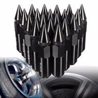 20pcs CNC Aluminum Lug Nuts Spike 60mm M12x1.5 Extended Tuner Wheel Rims Black