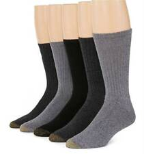 $50 Gold Toe New Men'S 5-Pair Pack Black Gray Cotton Casual Crew Socks Size 6-12