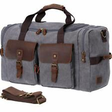 WOWBOX Duffle Bag Weekender Bag for Men and Women Genuine Leather Canvas Travel