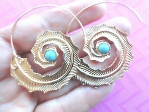Feather Leaf wire threader earrings