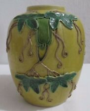 ''CIRCA 1900 Chinese Pottery Vase With Applied Green Leaf Design Beautiful''