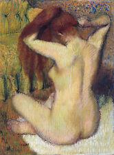 Degas Pastel Drawings: Woman Combing Her Hair - Fine Art Print