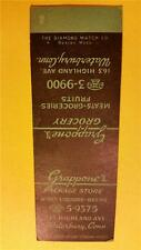 """1940-60 """"GRAPPONE'S PACKAGE STORE"""" LIQUORS - BEER * MATCH BOOK COVER ADVERTISING"""