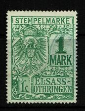 Alsace/El Sass 1889, 1 mk, Revenue, Used, Perf 11.5 - Lot 052217