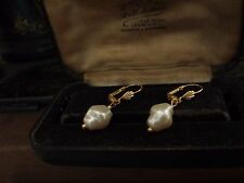 Vintage 10 x 12mm Cream Baroque Pearl Drop Hook Pierced Earrings