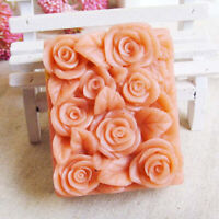 3D Rose Flower Silicone Soap Candle Molds Rectangle Soap Mould DIY