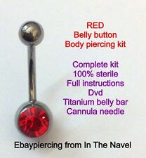 Body piercing kit. belly button, RED RED RED. Professional sterile kit.