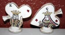 Vintage King Of Clubs Queen Of Hearts Gold Trim Salt & Pepper Shakers Set ~Sp11~