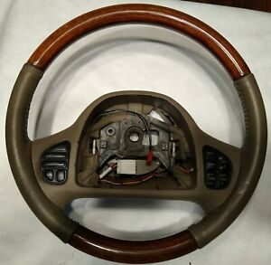 Lincoln Town Car Leather Woodgrain Steering Wheel Cruise Radio Switches Tan