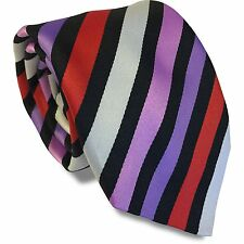 Black Mens Tie with Purple, Lilac, White and Red Stripes