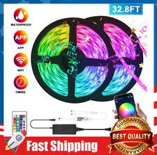 32.8ft RGB LED Strip Light Color Changing SMD 44 Key Remote 12V 5050  Power Kit