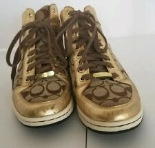 Coach Norra Gold High Top Tennis shoes Size 8.5 coach signature monogrammed