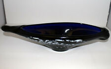 VINTAGE MURANO GLASS ROYAL BLUE WITH WHITE SPATTER DISH BOWL VASE LARGE 16IN