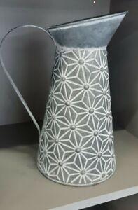 French Vintage Style Metal Jug Shabby Chic Pitcher Flower Vase Rustic Zinc 27cm