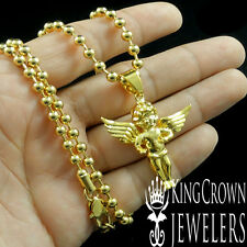 HIGH QUALITY 18K YELLOW GOLD PLATING MEN'S WOMEN'S ANGEL CHARM PENDANT NECKLACE